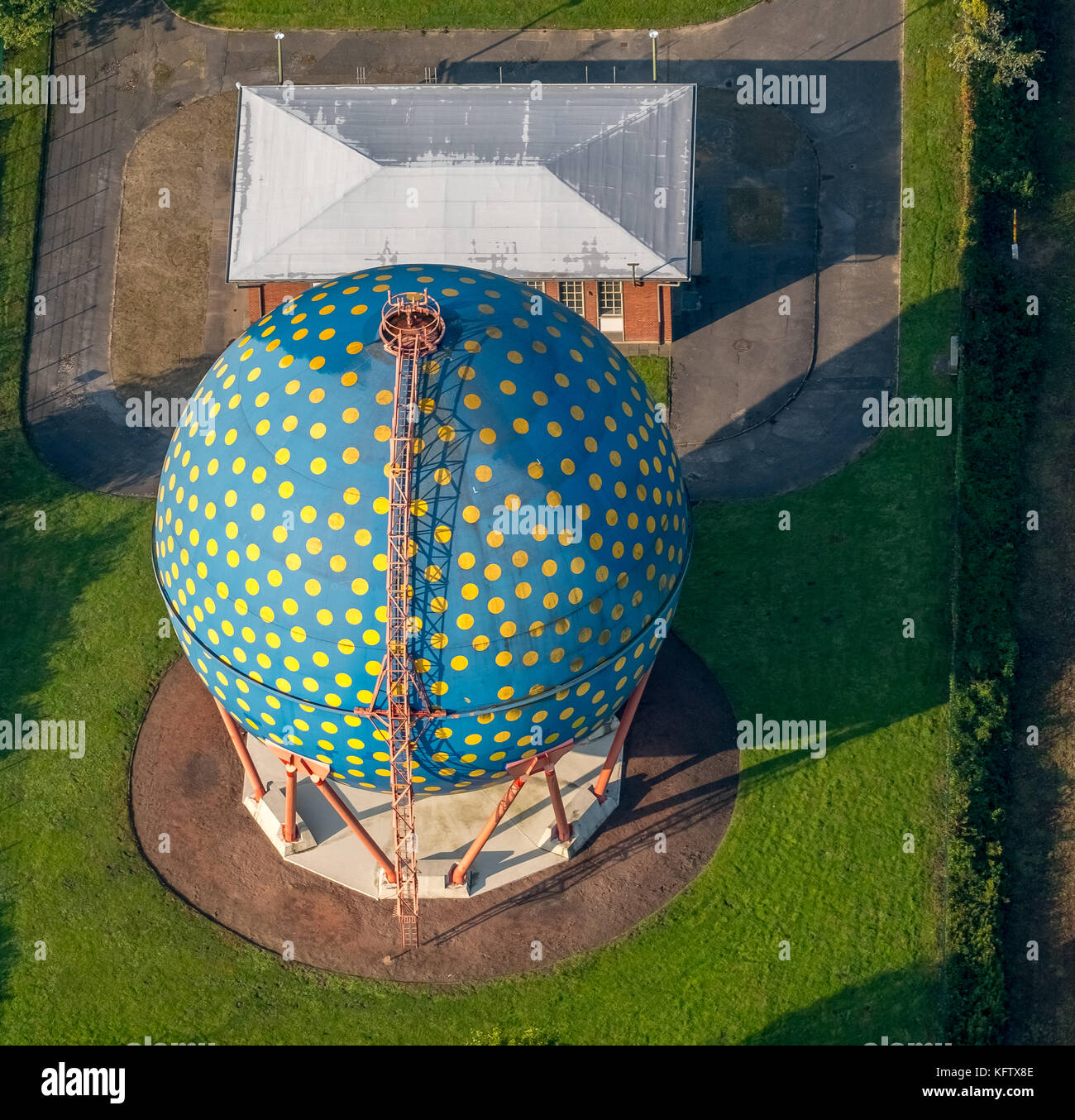 Spherical gas container on the Rhine-Herne Canal, THE BALL, ROLF GLASMEIER, Gelsenkirchen, Ruhr area, North Rhine Stock Photo