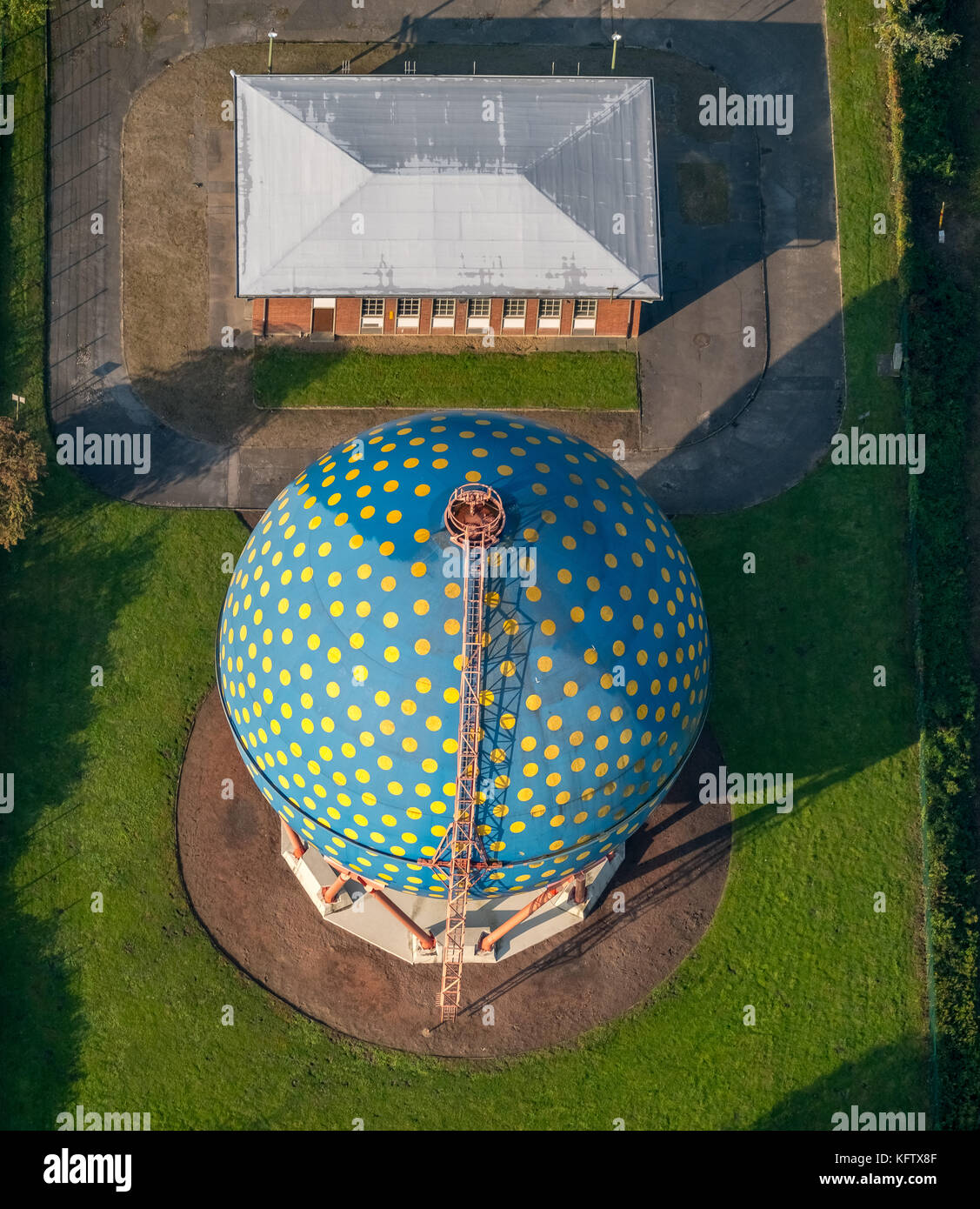 Spherical gas container on the Rhine-Herne Canal, THE BALL, ROLF GLASMEIER, Gelsenkirchen, Ruhr area, North Rhine - Stock Image