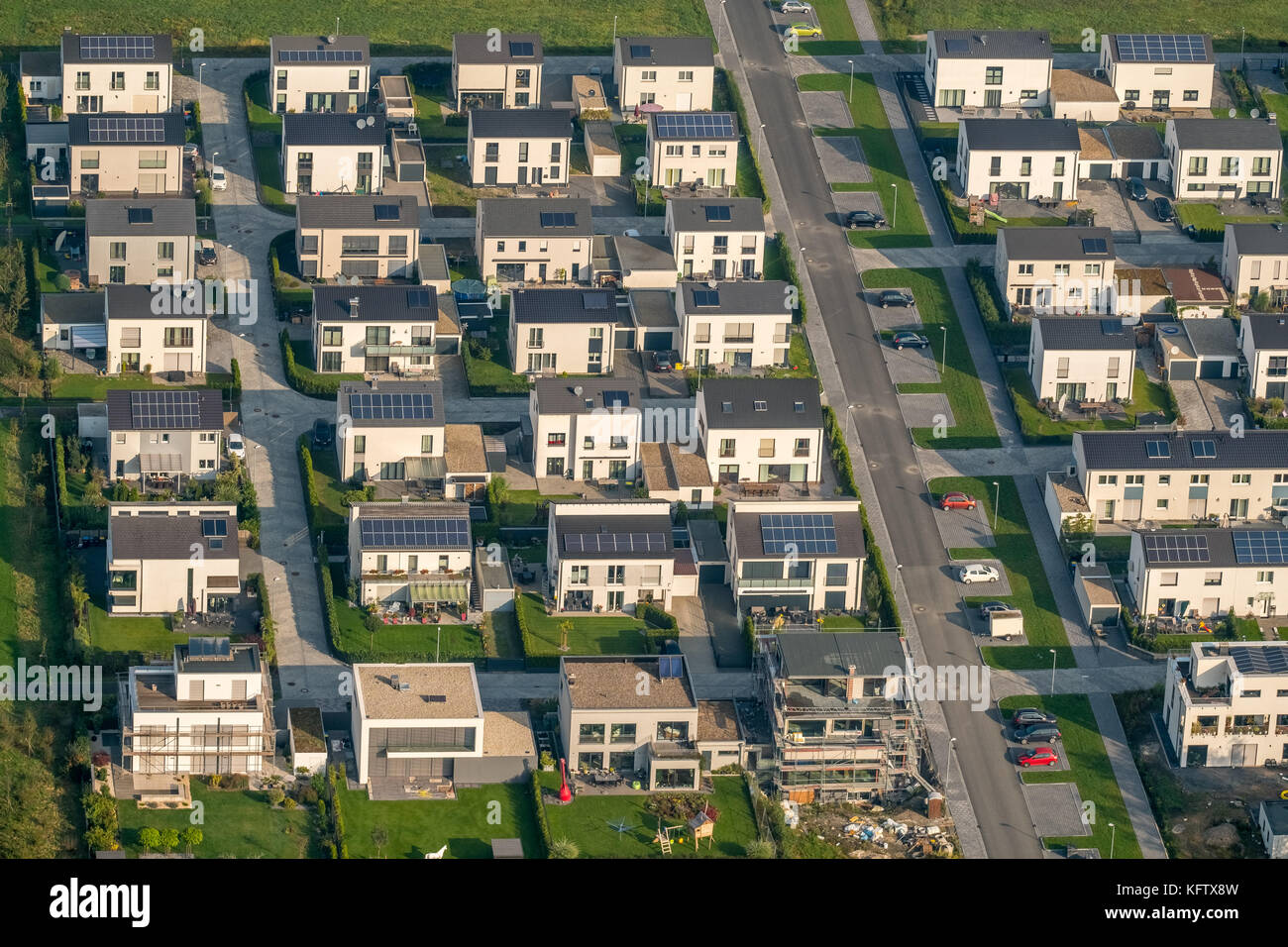New settlement Count Bismarck, semi-detached houses, residential property, Count Bismarck, Marina Rhine-Herne Canal, Stock Photo