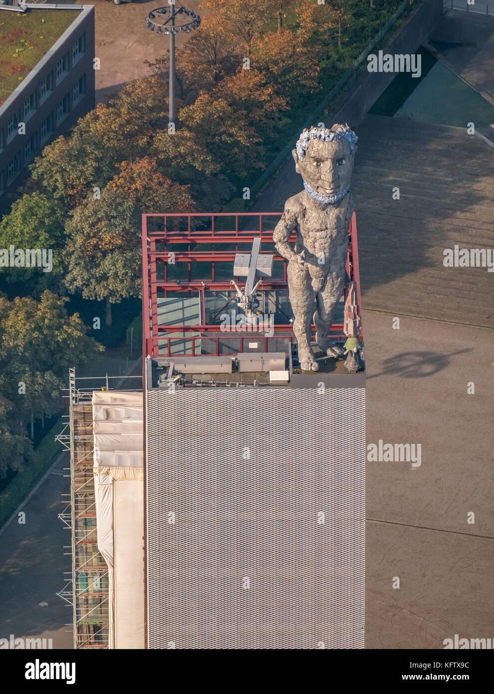 Hercules of Gelsenkirchen is a monumental statue, Markus Lüpertz, Vivawest Wohnen GmbH, Nordsternpark, former - Stock Image