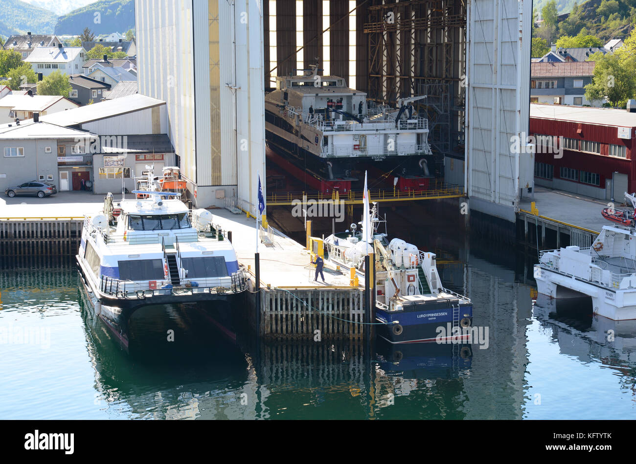 A dry dock in the village of Svolvaer Lofoten Norway. - Stock Image