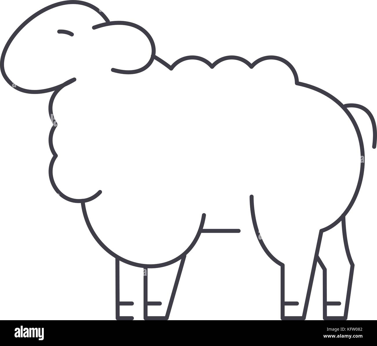 sheep vector line icon, sign, illustration on background, editable strokes Stock Vector