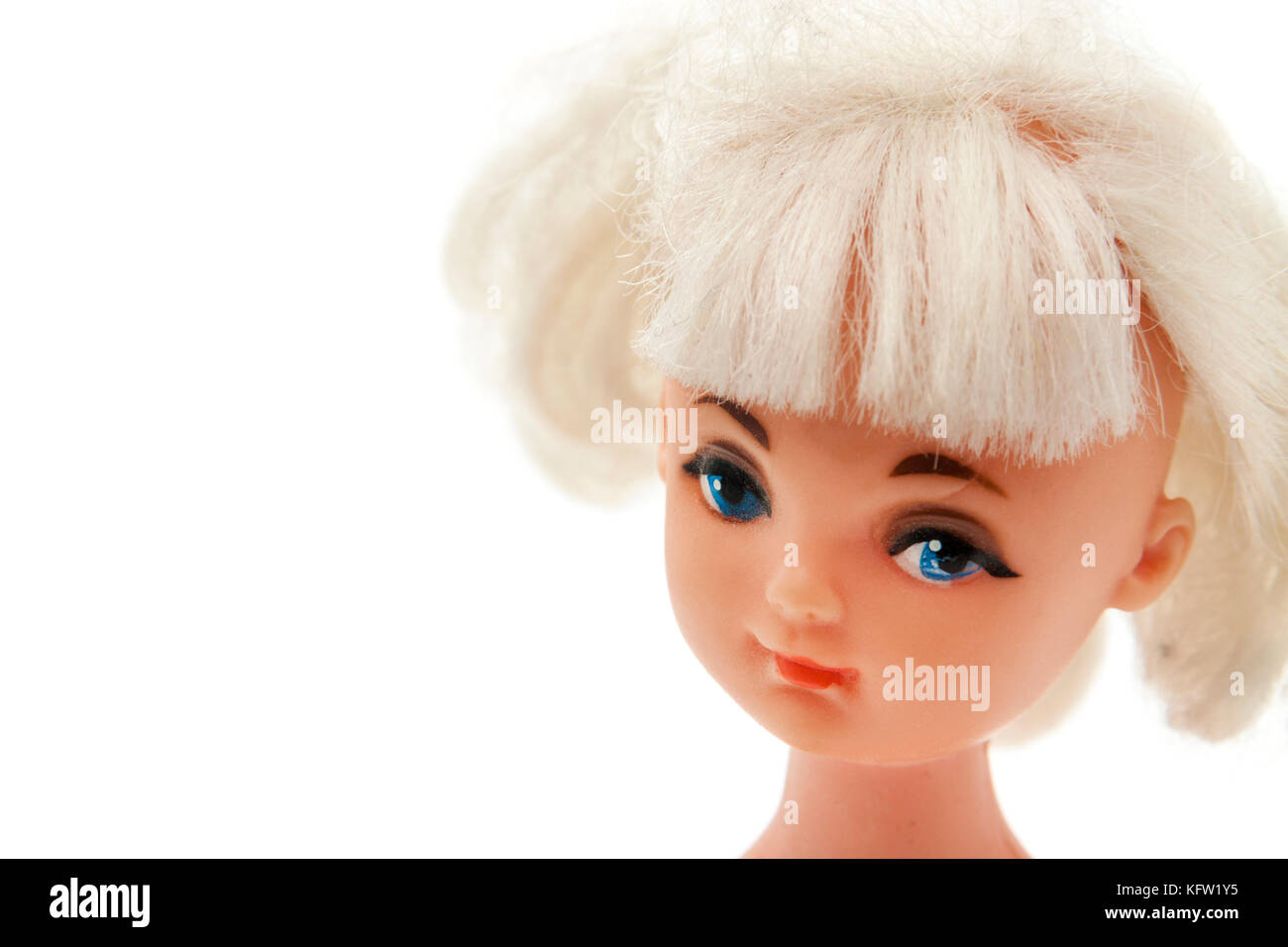 3e3e015fd32f14 Vintage 1960 s plastic doll with blonde hair and blue eyes - Stock Image