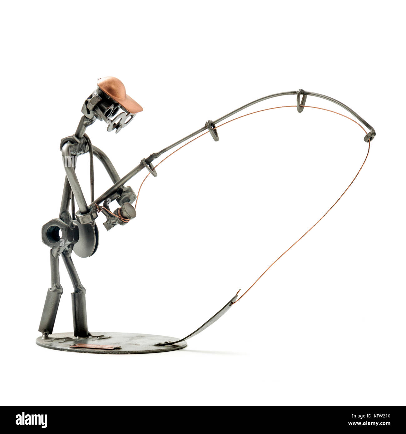 Metal sculpture of an angler by Hinz & Kunst, Munich, Germany - Stock Image