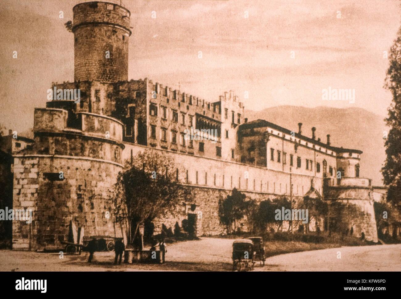 Italy Trentino Trento Castle del BuonConsiglio a ancient  print - Stock Image