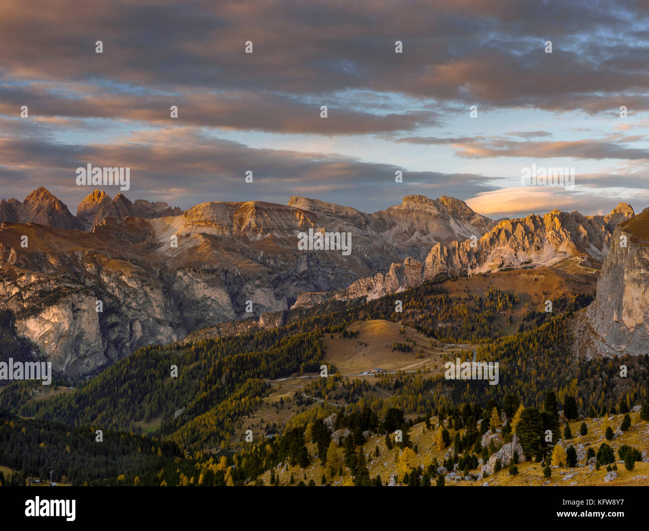 View in the direction of the Groedner Pass from the Sella Pass, Province of Bolzano-Bozen, South Tyrol, Italy, Europe Stock Photo