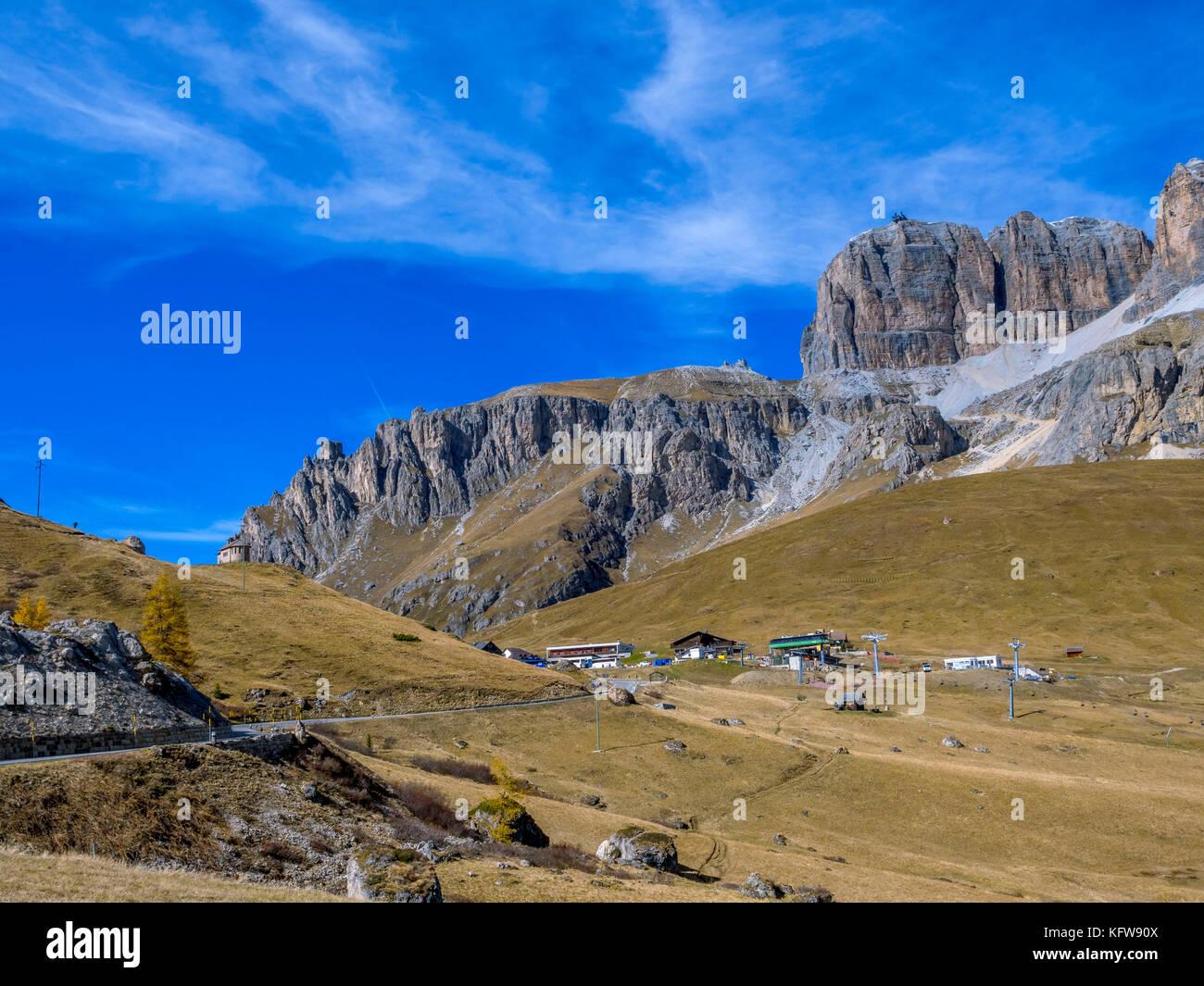 Mountain landscape on Pordoi Pass, Dolomites, South Tyrol, Italy, Europe - Stock Image