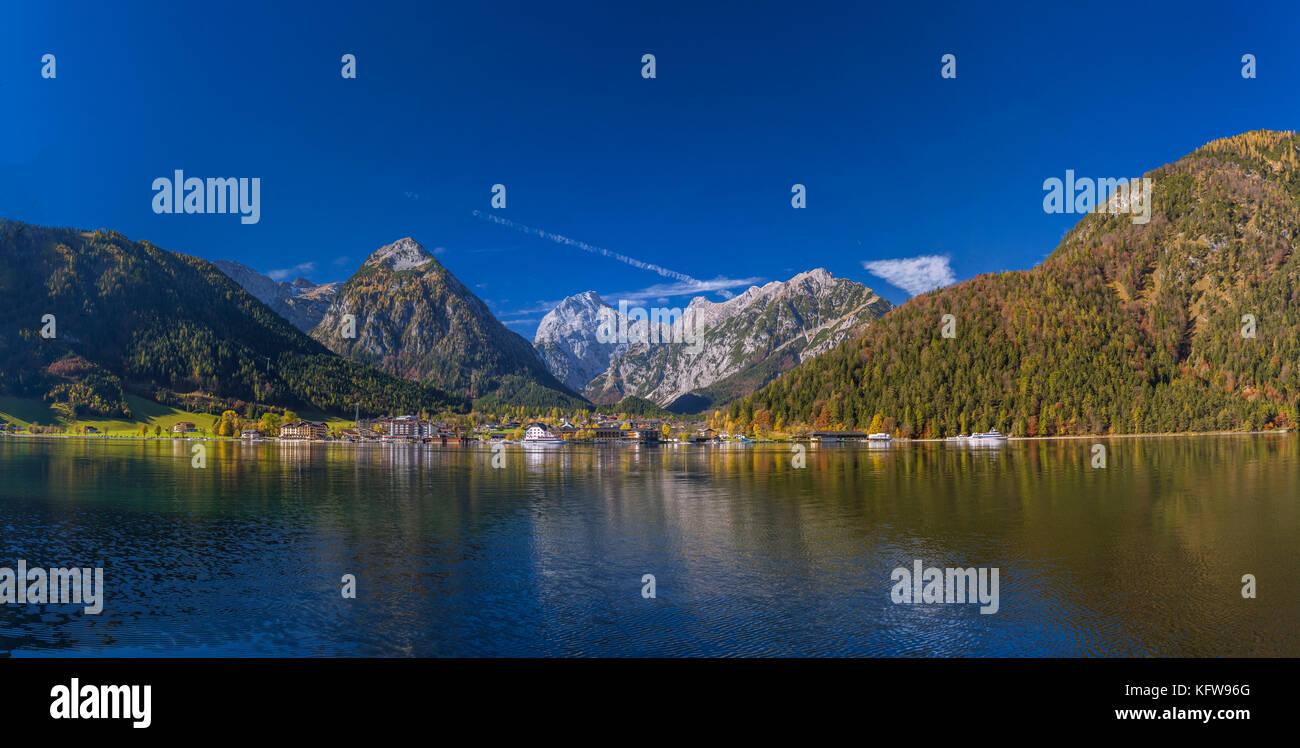View of Pertisau at Achensee lake, Karwendel Mountains, Tyrol, Austria, Europe - Stock Image