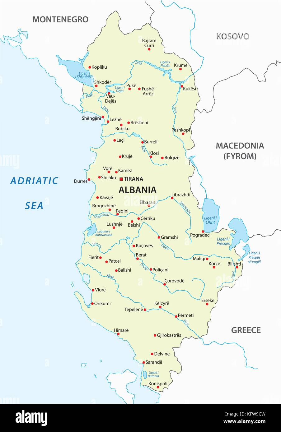 albania vector map - Stock Vector