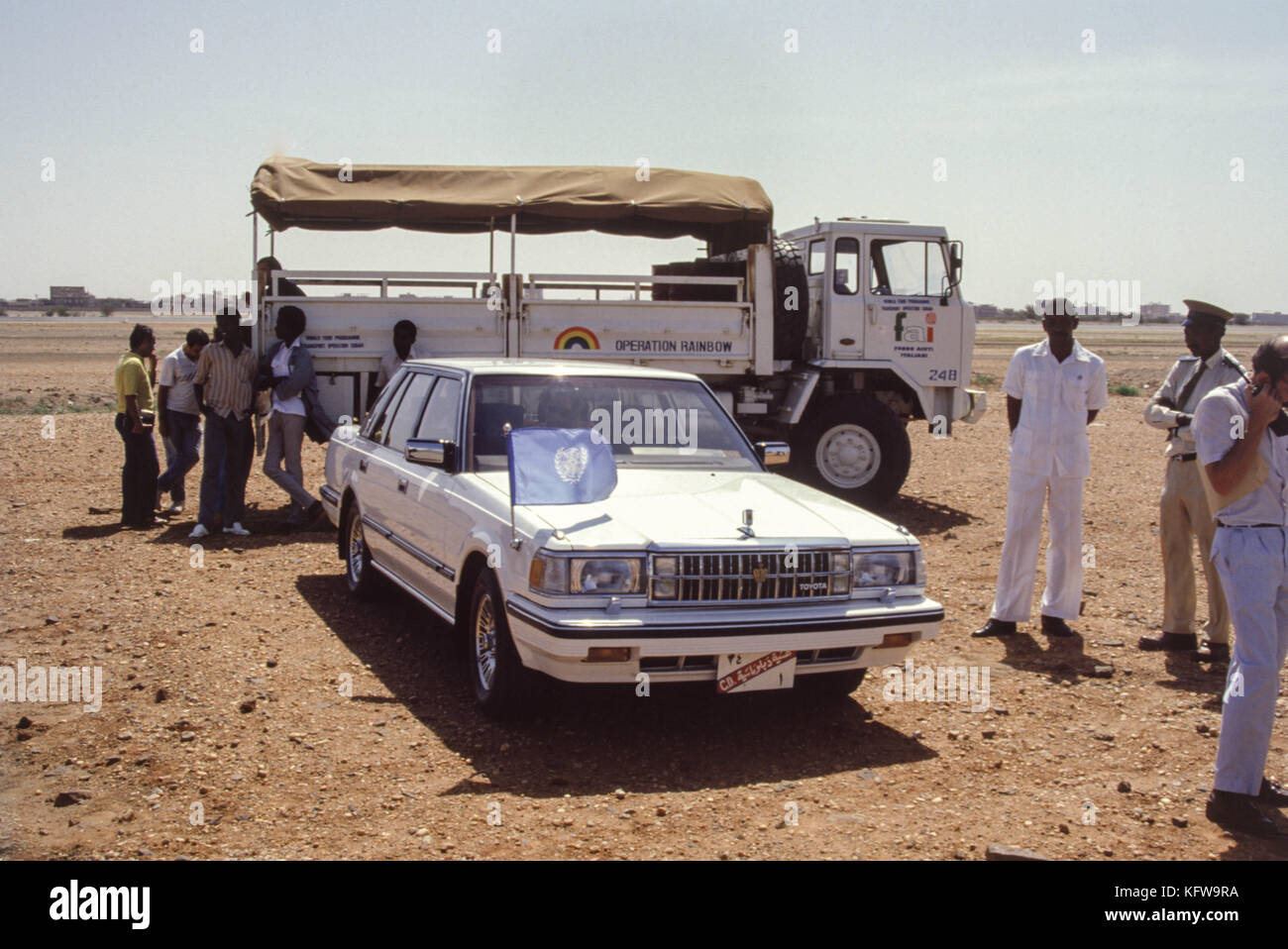 Khartoum, Sudan - September 1986 - A $1 million food airlift relief project for famine victims in war-ravaged southern - Stock Image