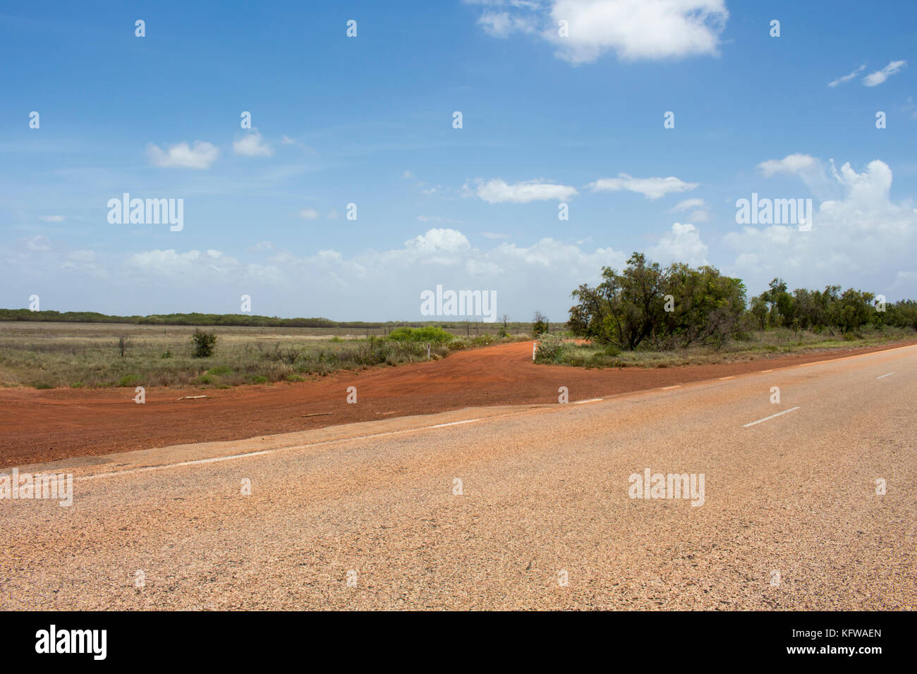 Great Northern Highway ,a sealed road with  length of  2,000 miles  the longest highway in Australia , crossing Stock Photo
