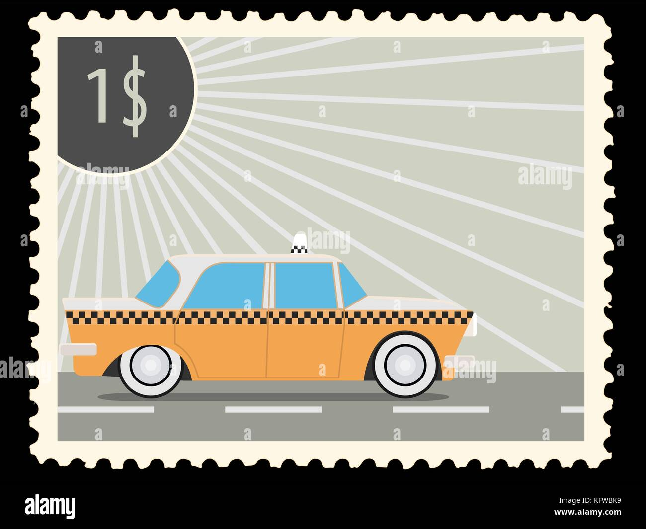 Postage stamp with retro taxi cars. Vector illustration - Stock Image