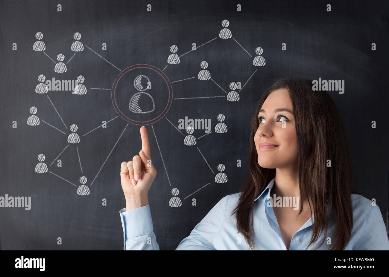 Businesswoman standing against social network chalk drawing on blackboard and pointing on it - Stock Image