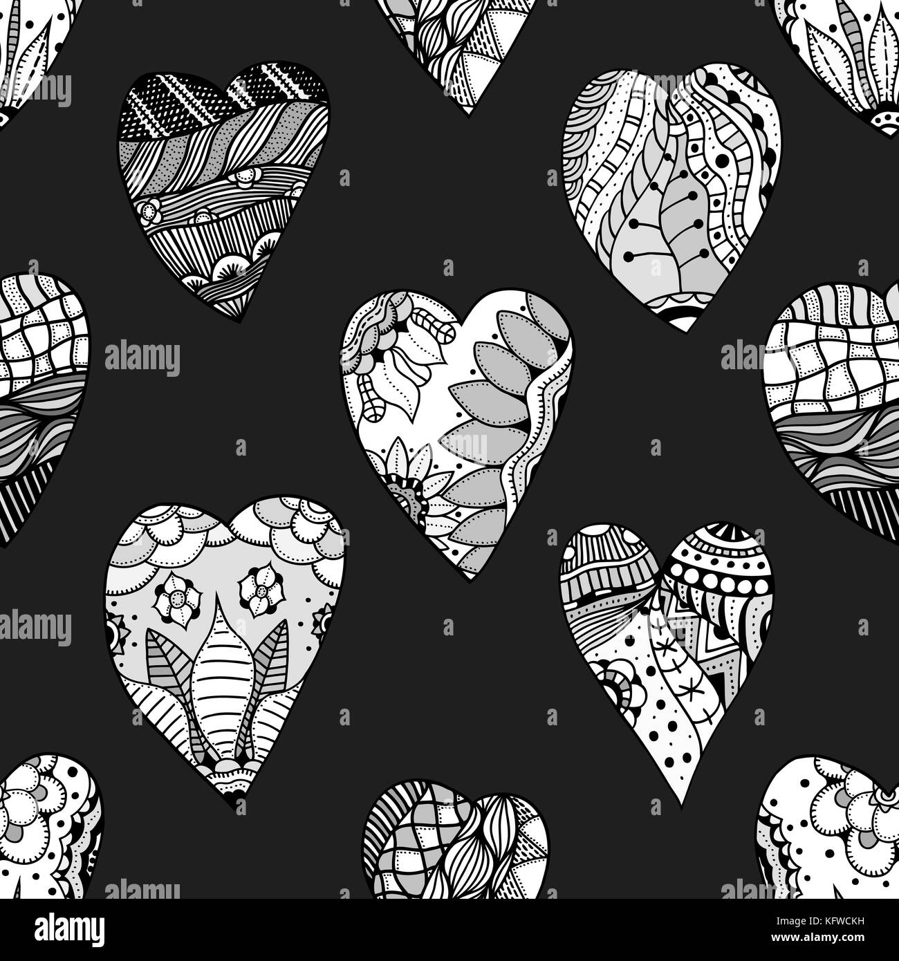 Hand drawn ornamental heart with love in doodle, Zentangle