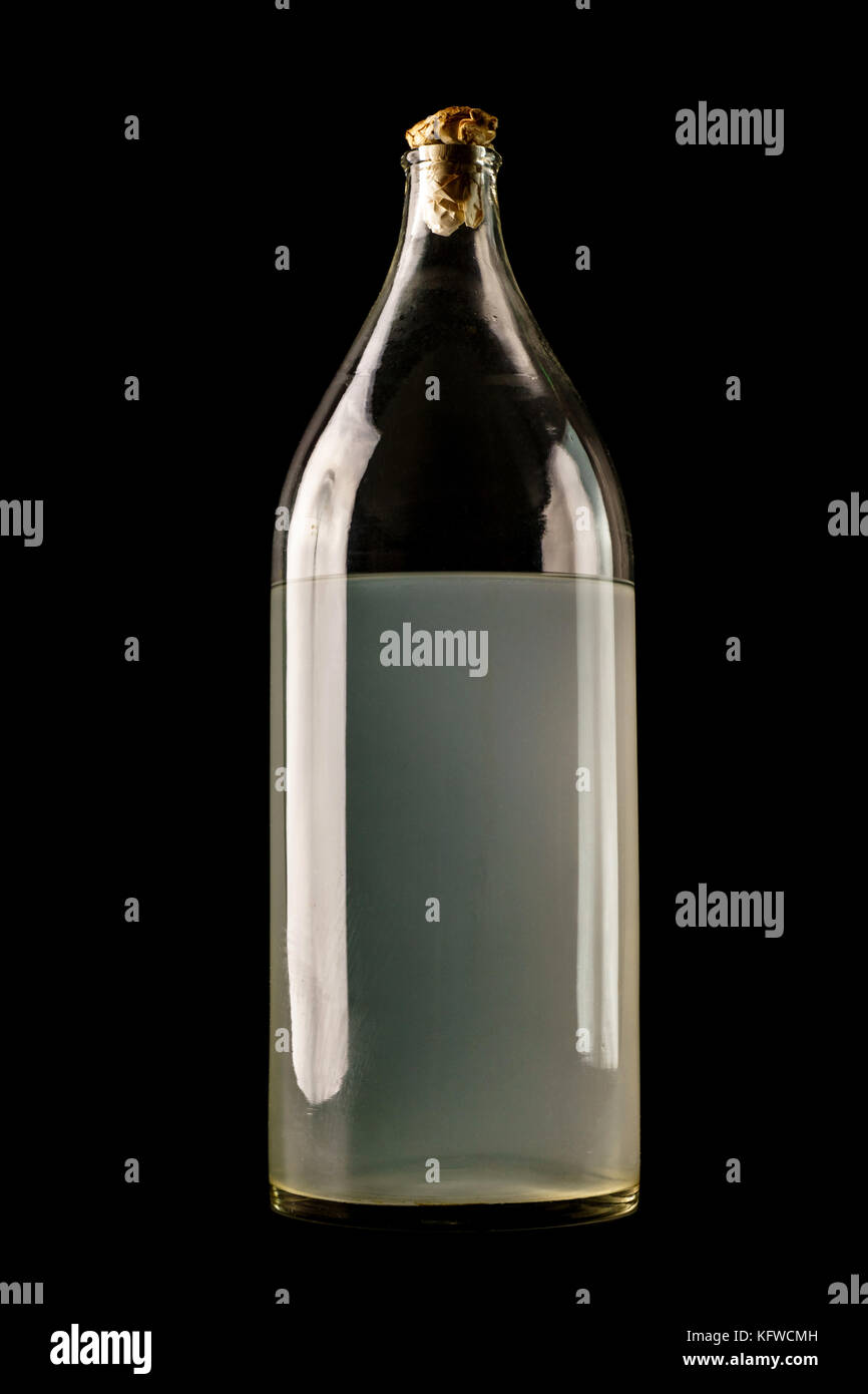 Ukrainian national drink . The big bottle of moonshine isolated on black background - Stock Image