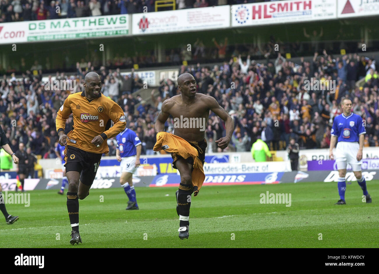 Footballer Shaun Newton celebrating goal Wolverhampton Wanderers v Millwall 19 April 2003 - Stock Image
