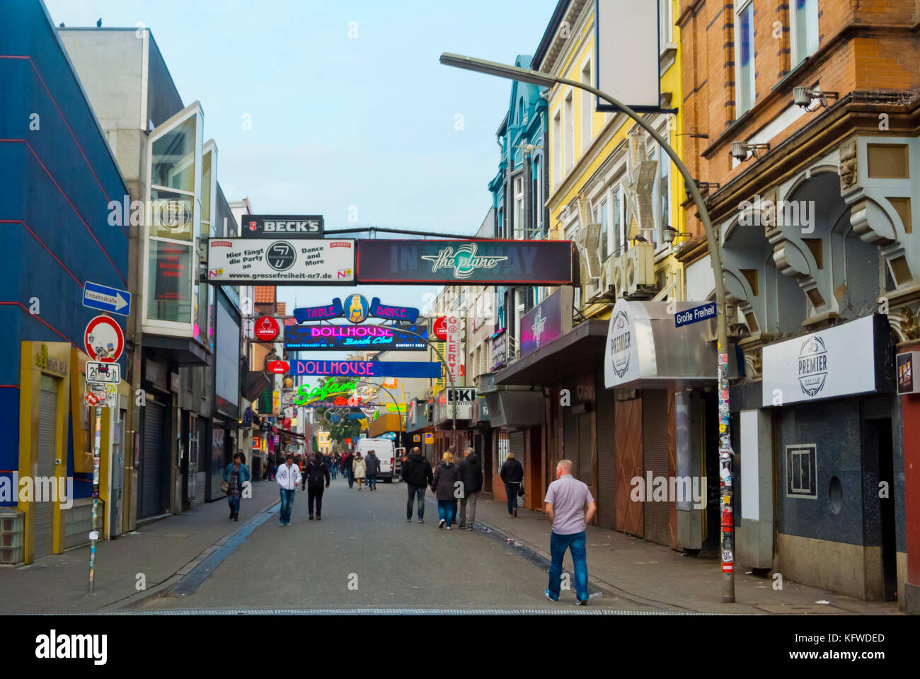 Grosse Freiheit street, St Pauli district, Hamburg, Germany - Stock Image