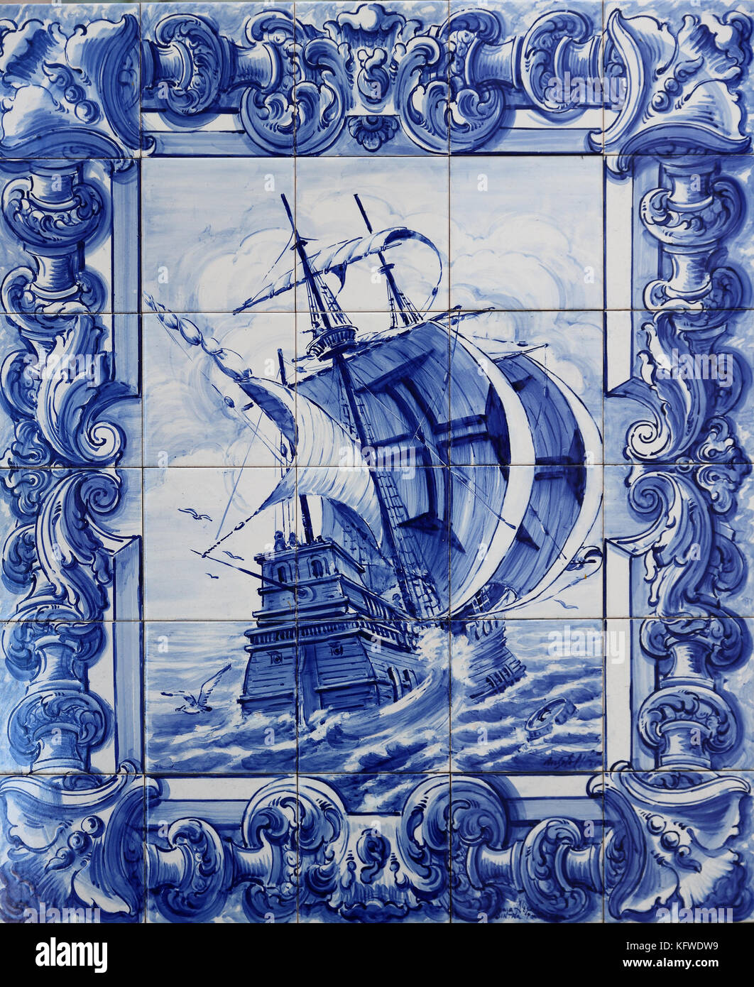 https www alamy com stock image typical tile artwork in sintra portugal depicting a portuguese galleon 164672853 html