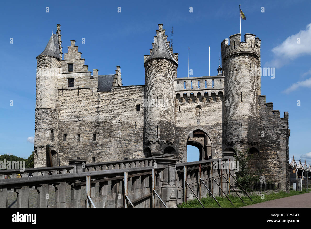 Het Steen in Antwerp, Belgium. Although Antwerp was formerly a fortified city, hardly anything remains of these - Stock Image
