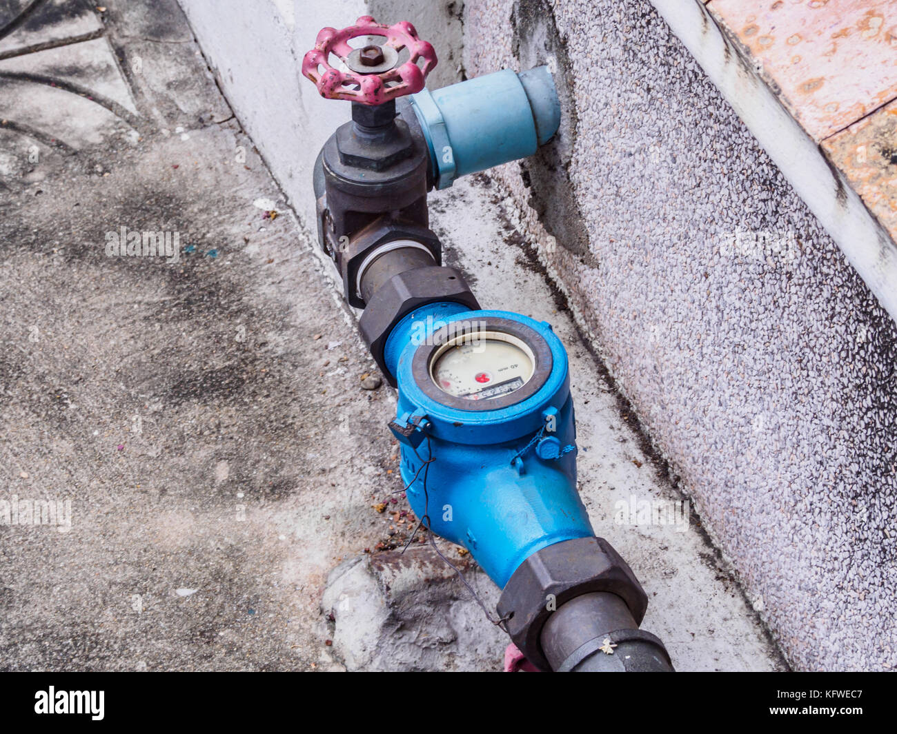 water meter with gate valve - Stock Image