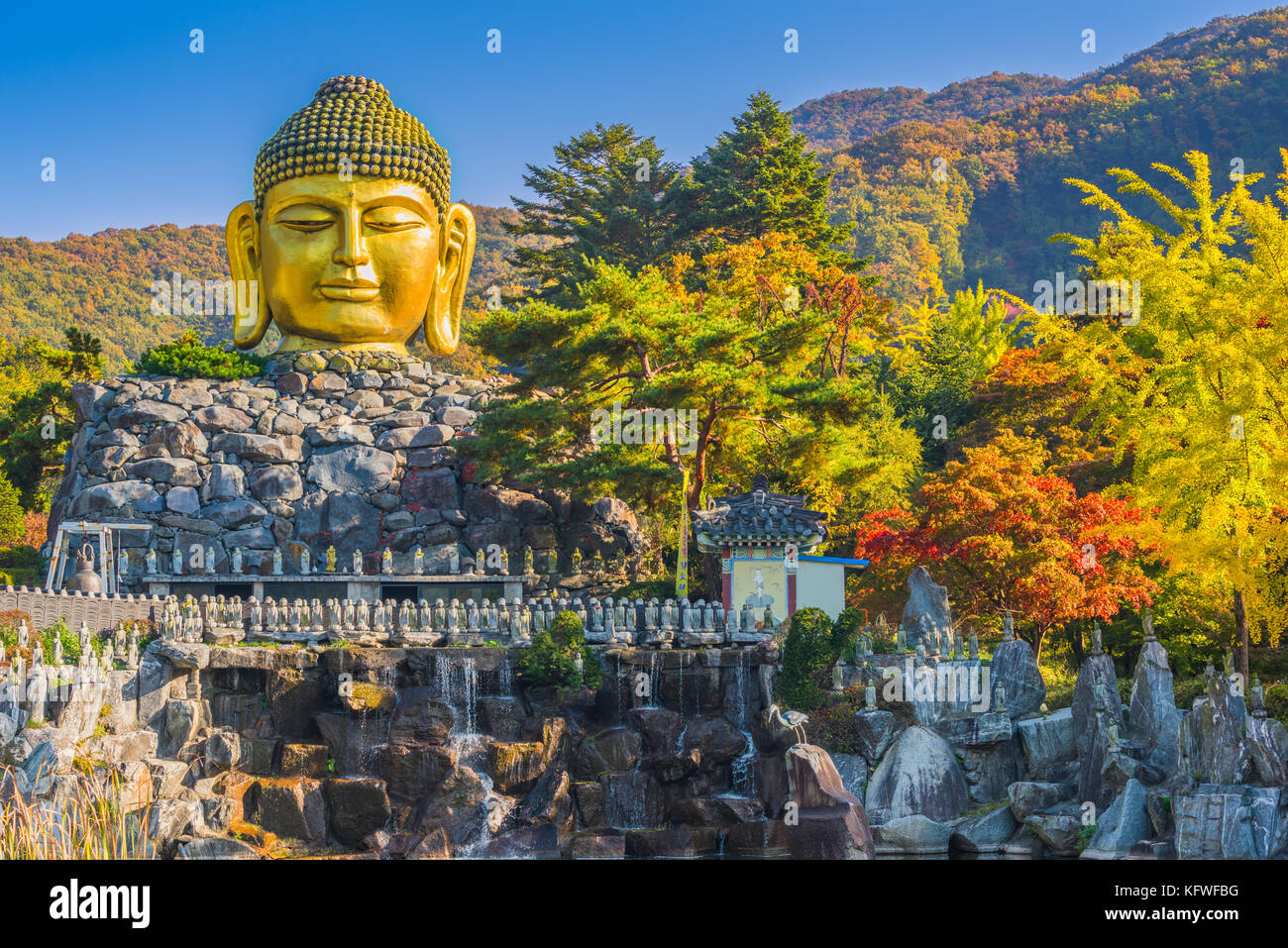 Autumn of Statue of Buddha in Wawoo Temple, Yong-in. Seoul, Korea - Stock Image