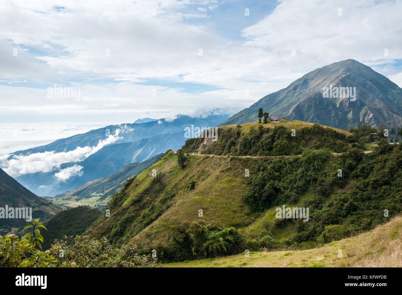 On the road through the Andes. The photo is taken near small town Alausi in Ecuador - Stock Image