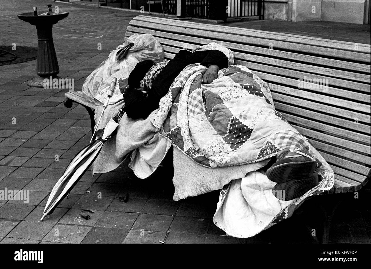 Man sleeping rough on a bench on the streets LA, USA - Stock Image