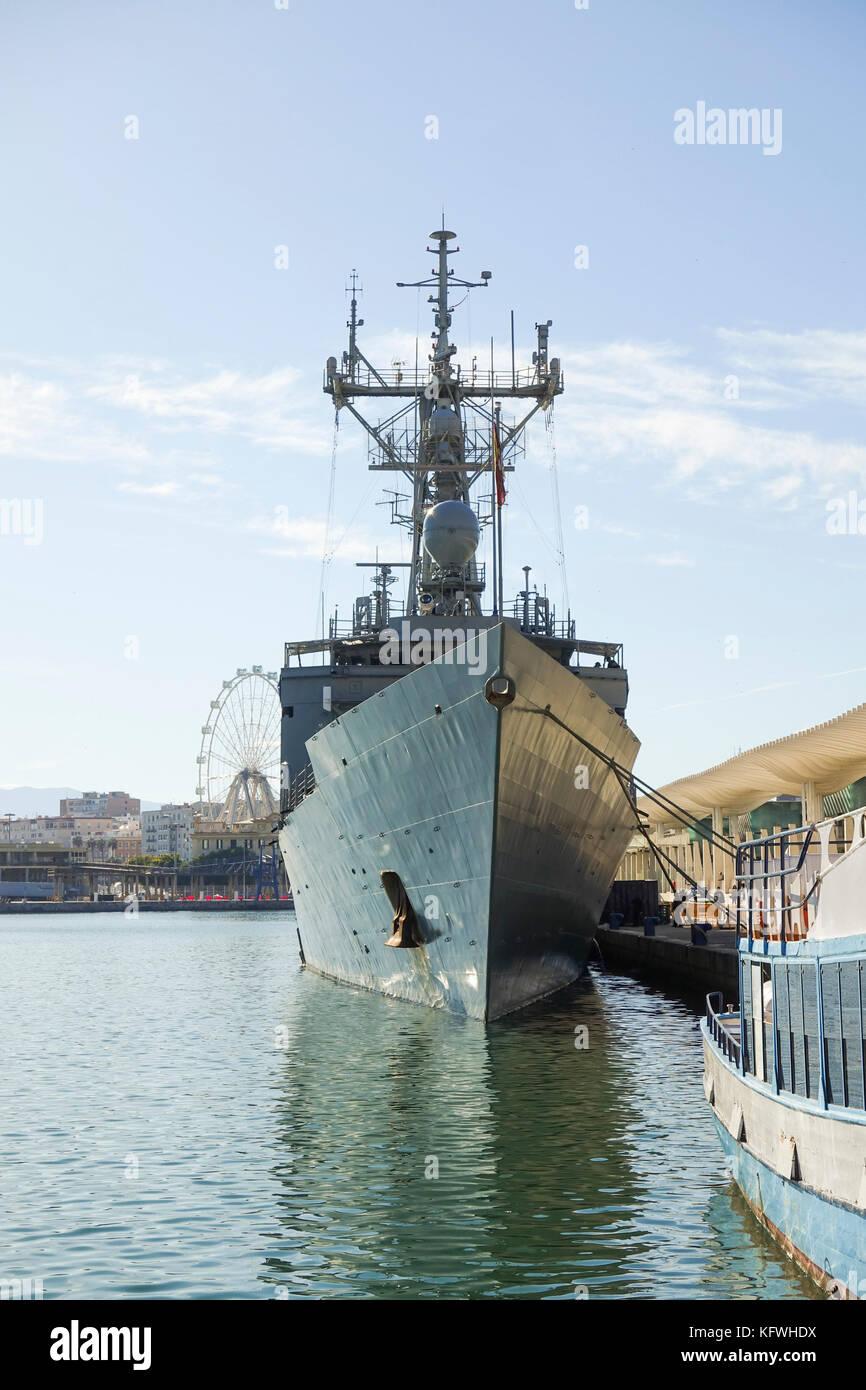 Spanish Navy boat, warship, Frigate Numancia moored in Port of Málaga ,Andalusia, Spain. - Stock Image