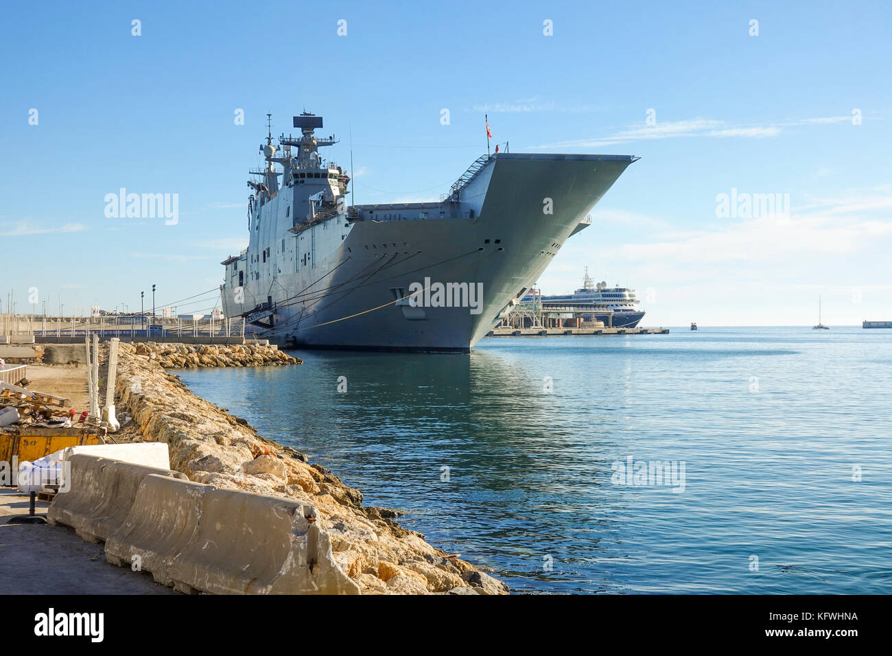 Aircraft carrier, Spanish ship Juan Carlos I moored in the port of Malaga, Andalusia, Spain. Stock Photo