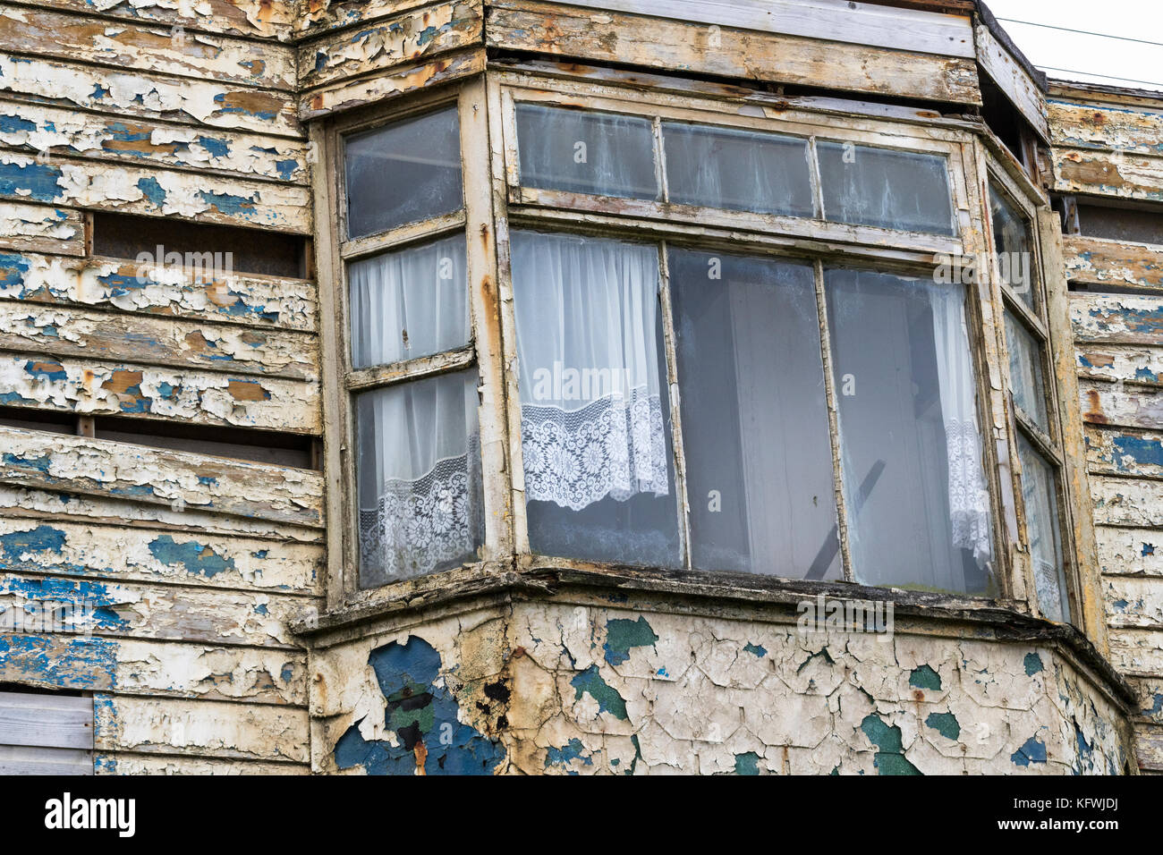 Detailed Study of Derelict Beach-side House. Portreath, Cornwall, England. - Stock Image