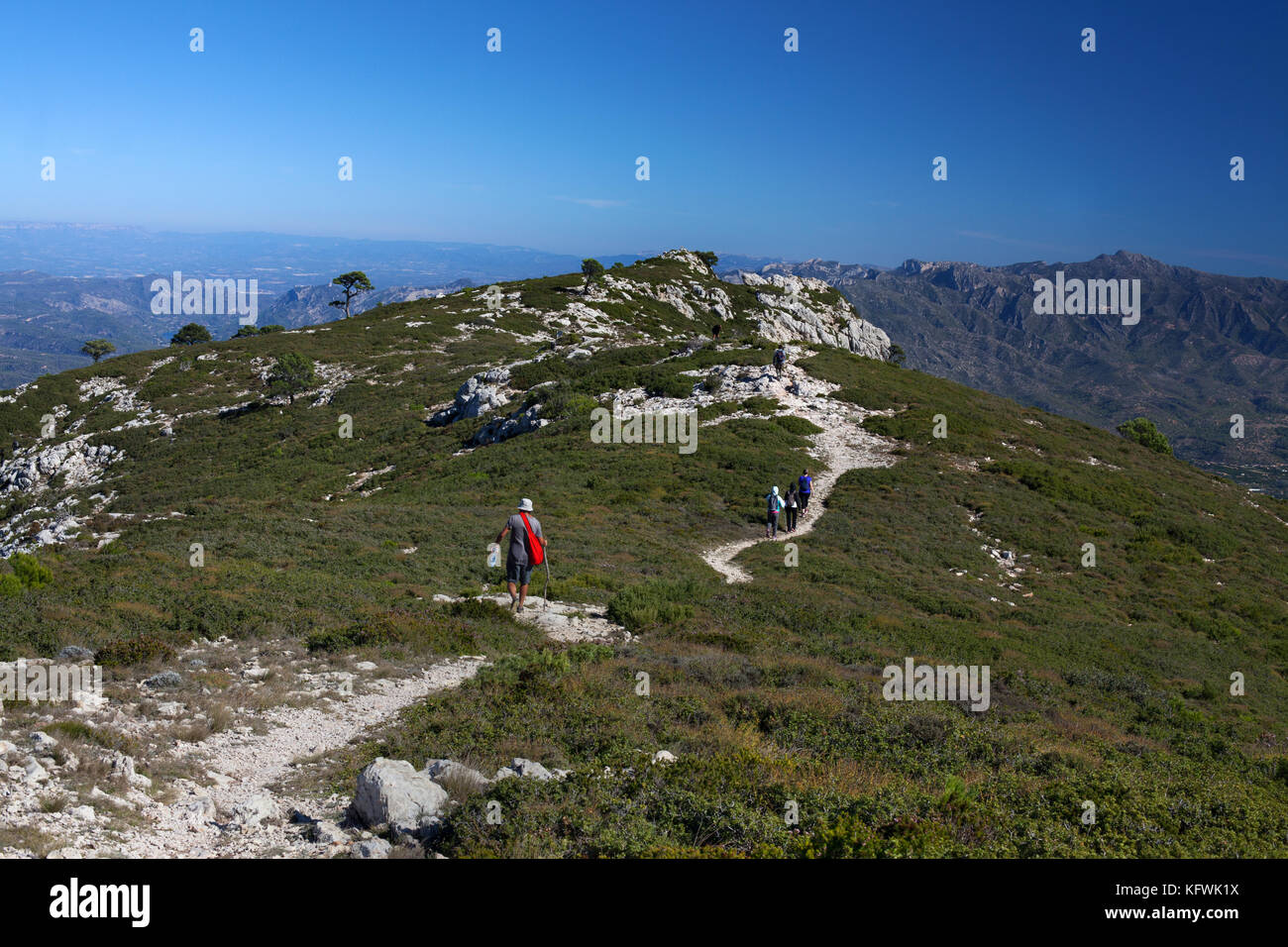 Hikers, el Molar, Tarragona, Spain. - Stock Image