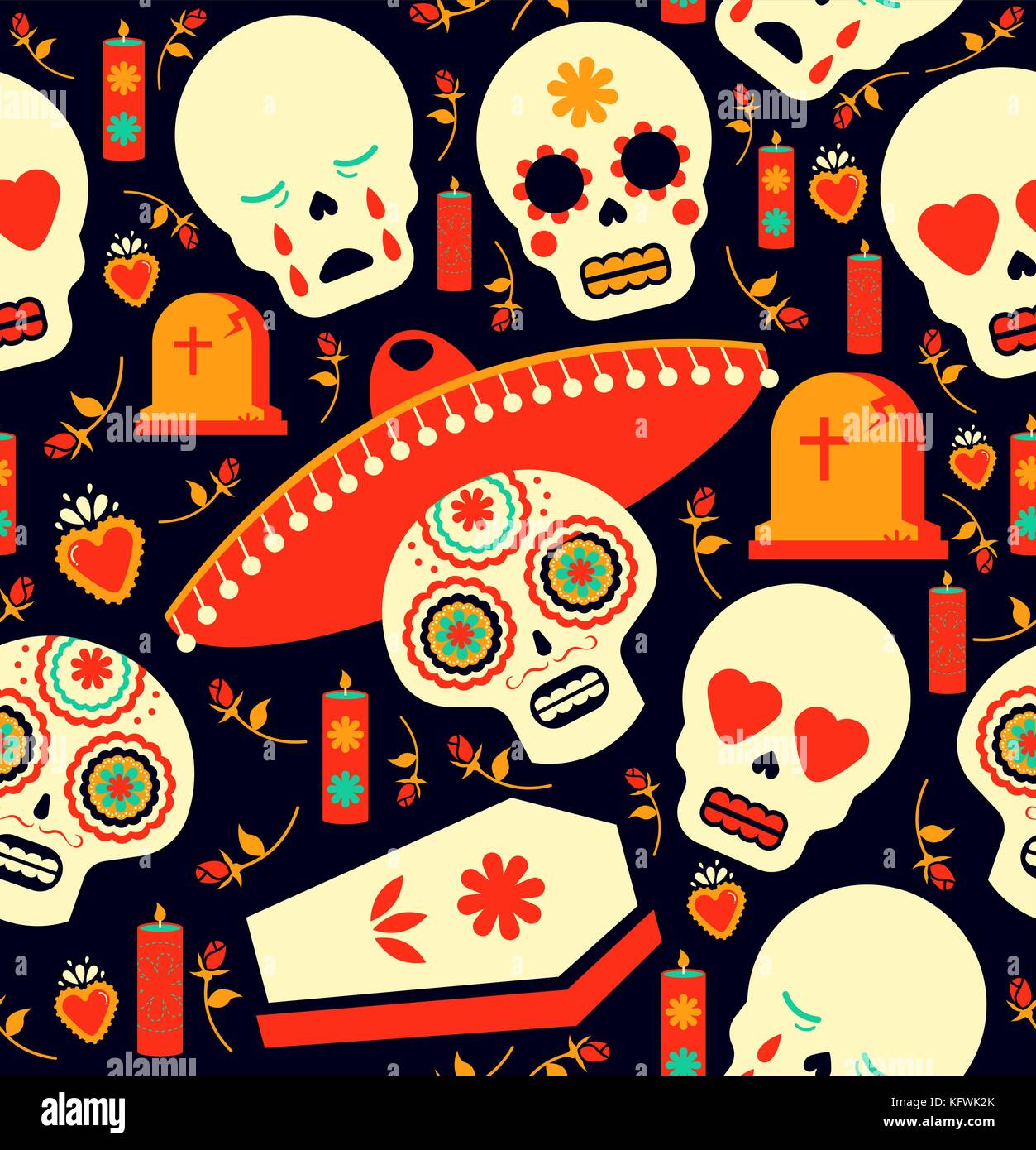 Mexican Day Of The Dead Seamless Pattern Art Sugar Skull Emoji With Stock Vector Image Art Alamy