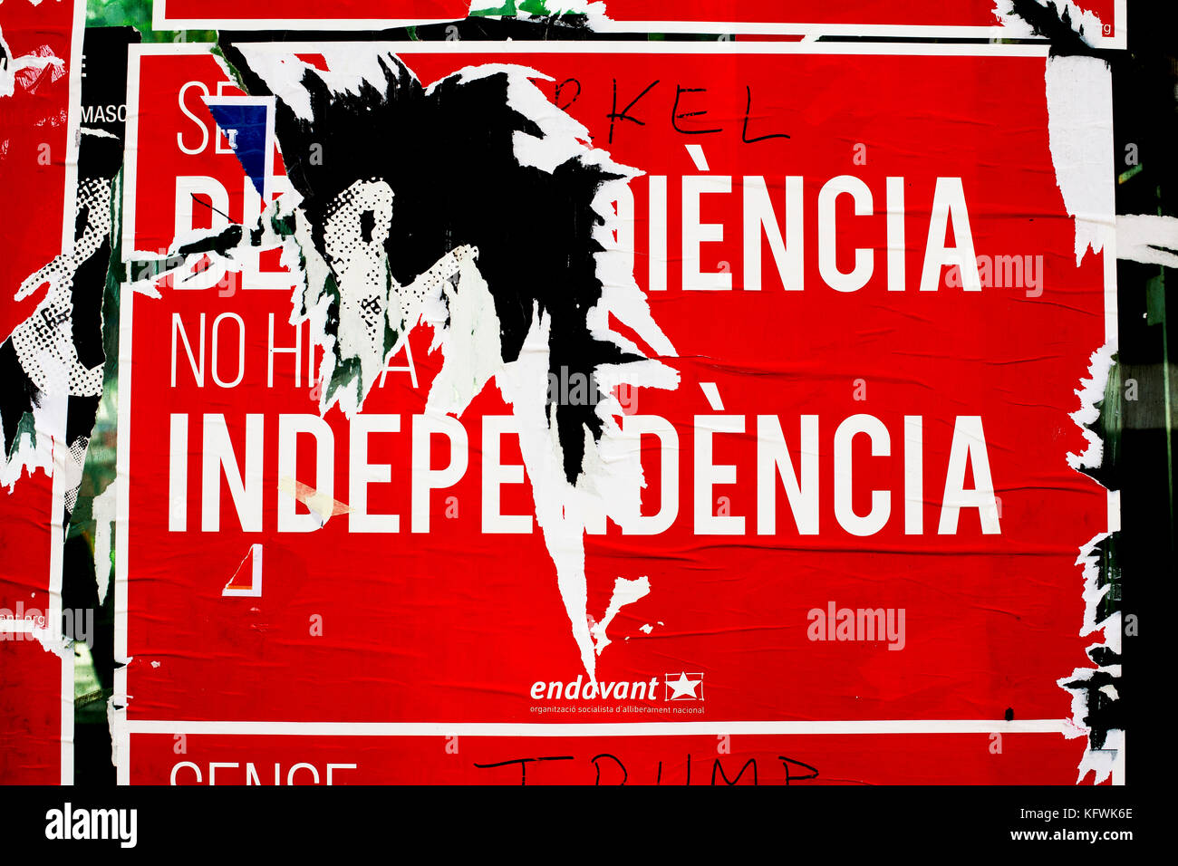 Pro Catalan Independence poster, Barcelona, Spain. - Stock Image
