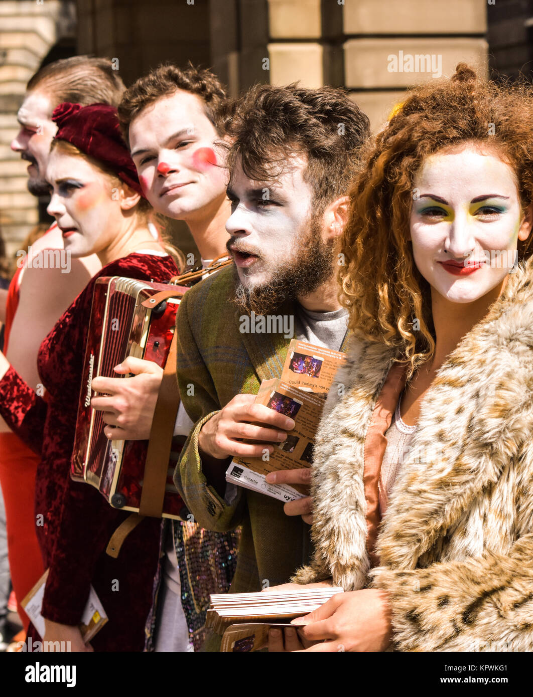 Unknown performers, actors and musicians attempt to attract the public to their shows at the Edinburgh Fringe on - Stock Image