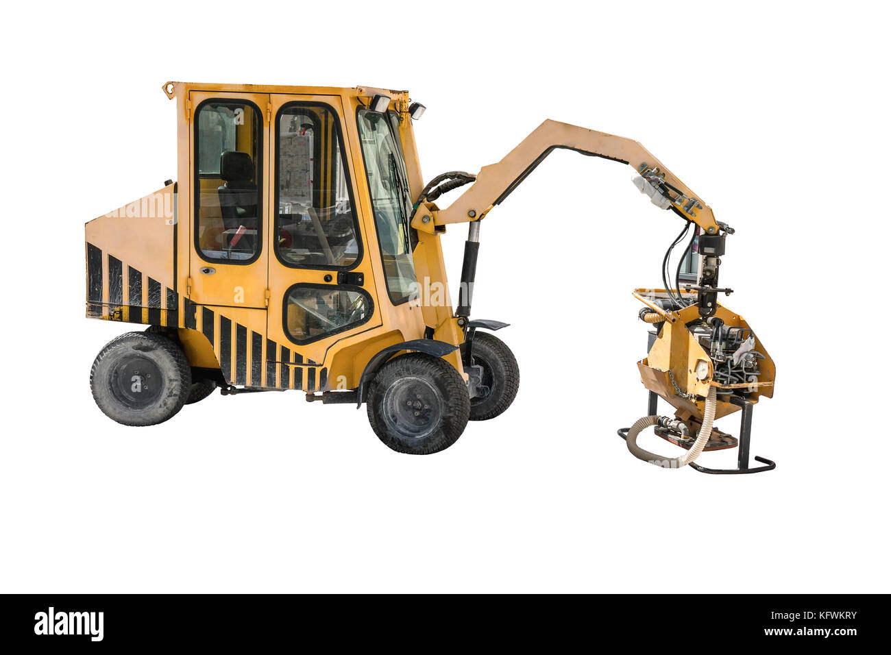 Paving slabs laying machinery -making. Isolated on a white background. - Stock Image