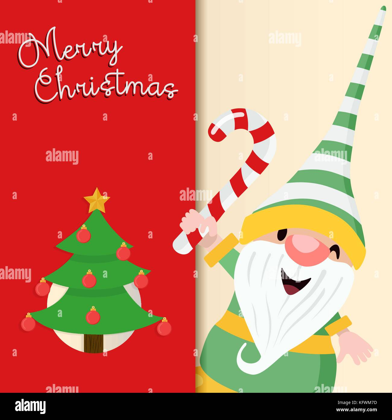 Merry Christmas greeting card illustration for holiday season. Cute ...
