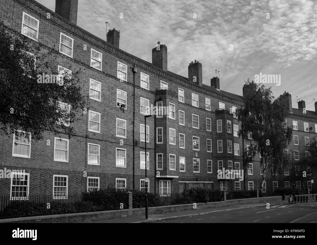 Residential brick building on Kennington Oval street London - Stock Image