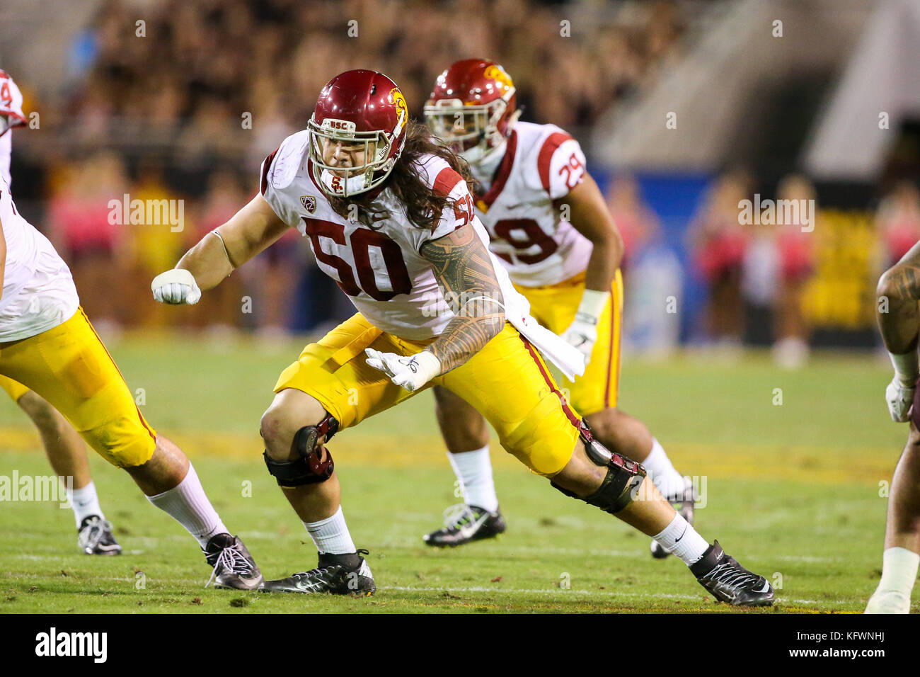 TEMPE, AZ - OCTOBER 28: Toa Lobendahn (50) of the USC Trojans during a college football game between the USC Trojans - Stock Image