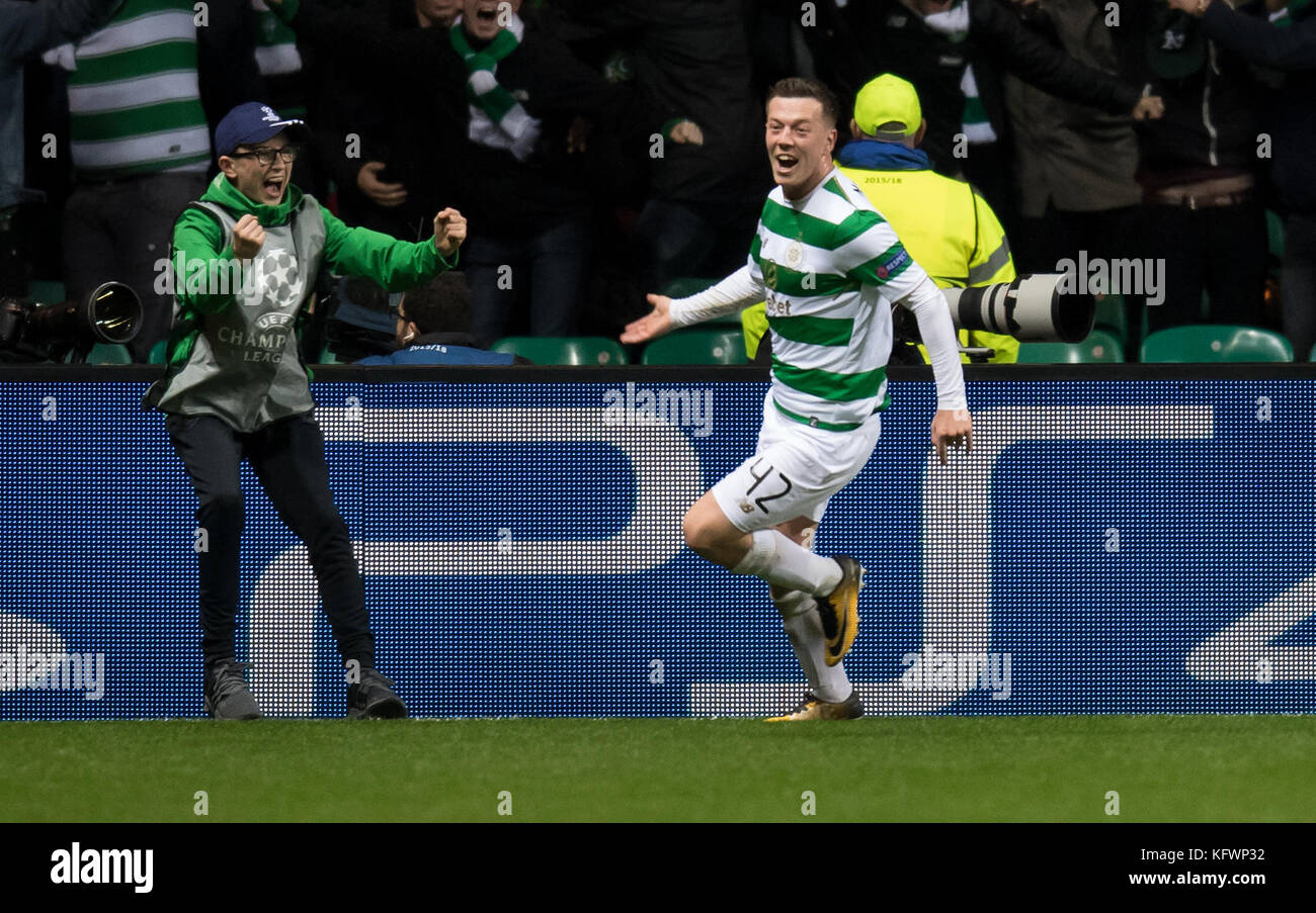 Callum McGregor cheers over his 1-1 equalizing score during the Champions League football match between Glasgow's - Stock Image