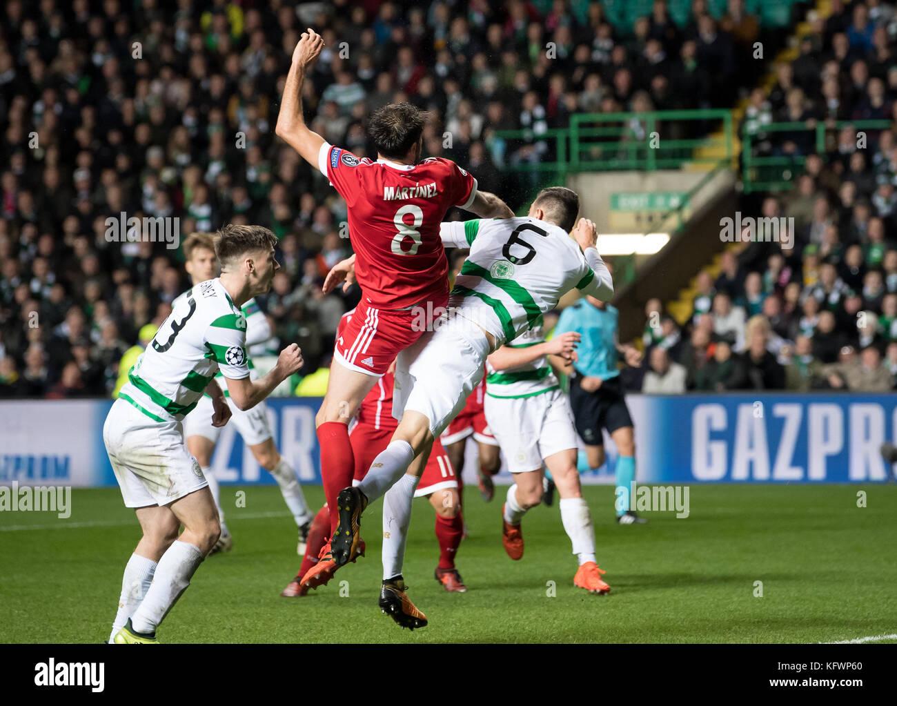 Glasgow, UK. 31st Oct, 2017. Javi Martinez of Bayern scores 1-2 after winning aagainst Glasgow's Nir Bitton - Stock Image