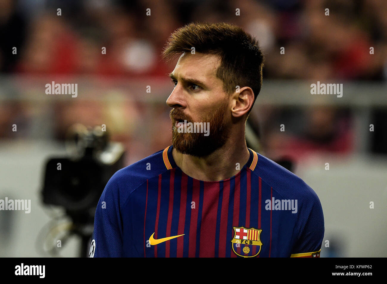 Athens, Greece. 31st Oct, 2017. Lionel Messi of Barcelona during the Champions League football match between Olympiacos Stock Photo