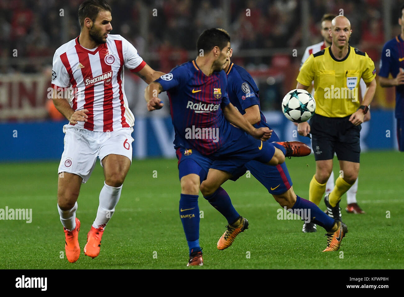 Athens, Greece. 31st Oct, 2017. FC Barcelona's Luis Suarez (C) in action during Group D, UEFA Champions League football Stock Photo