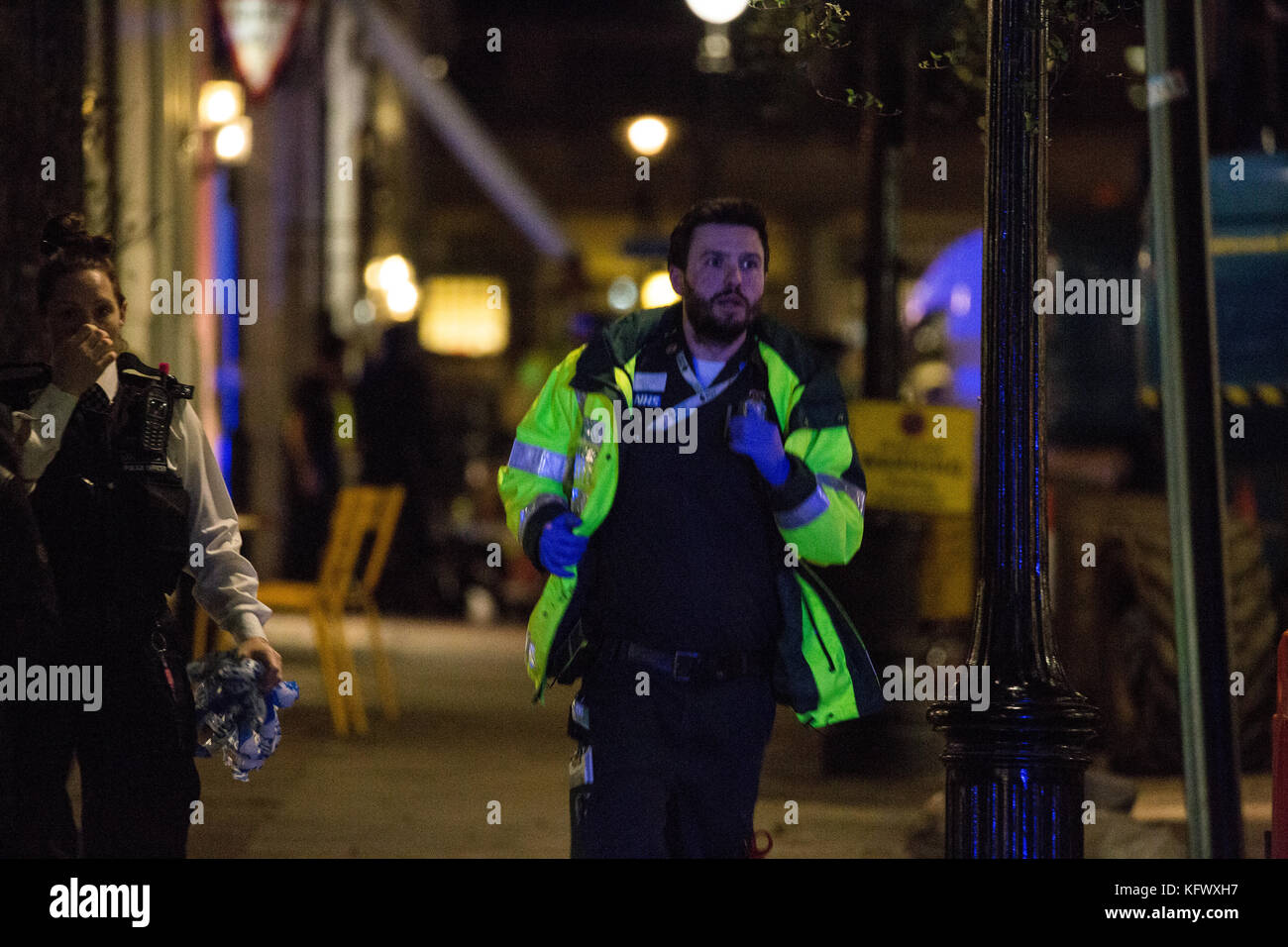 London, UK. 1st November, 2017. A medic runs in Southampton Street, Covent Garden, during a security incident. It - Stock Image