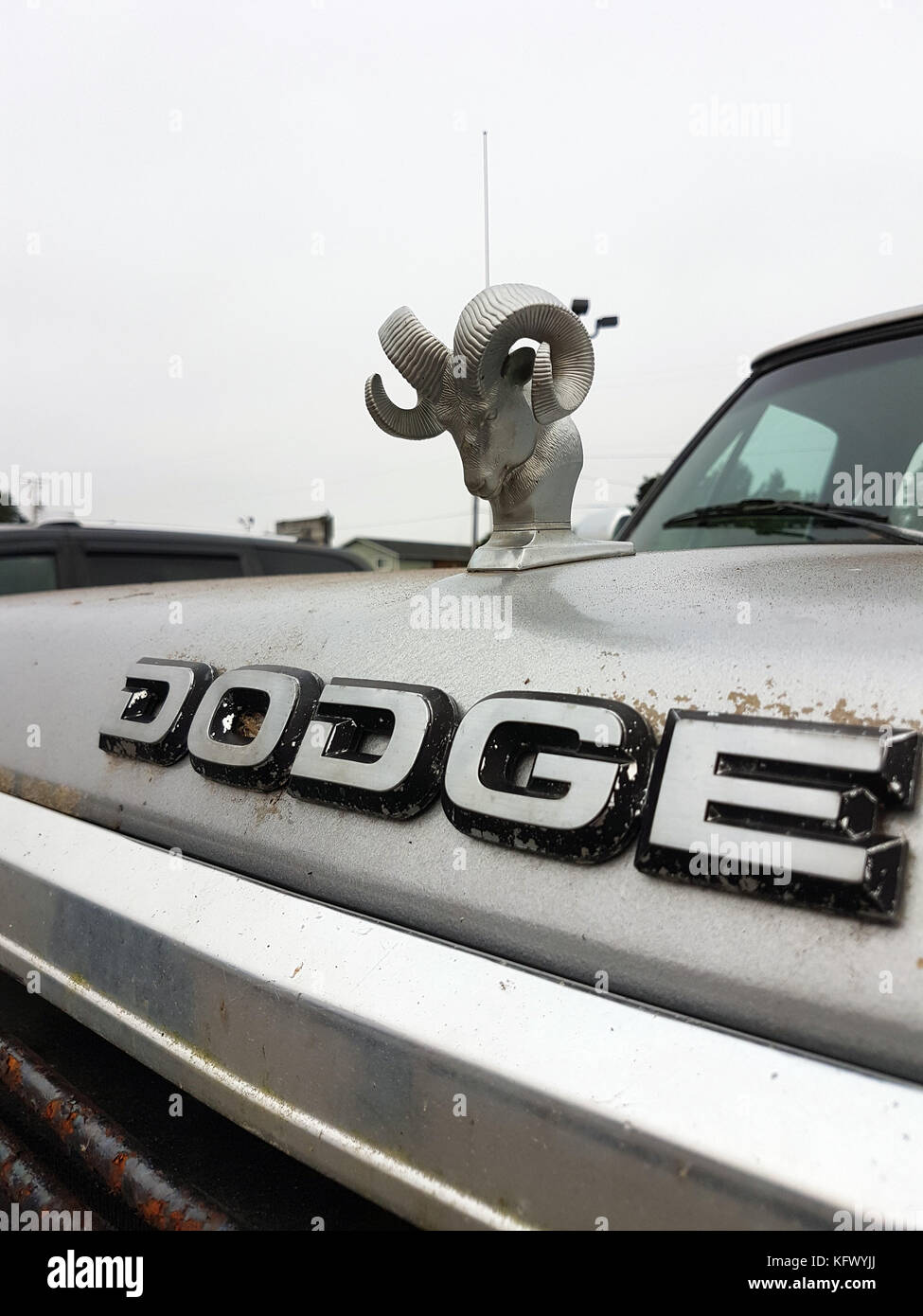 Florence, USA. 06th Sep, 2017. The lettering 'Dodge' and the brand logo of Dodge, the head of ram, can be seen on Stock Photo