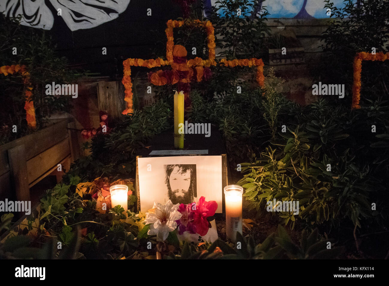 Madrid, Spain. 1st Nov, 2017. Altar dedicated to the activist Santiago Maldonado made on a plot with sage plants - Stock Image