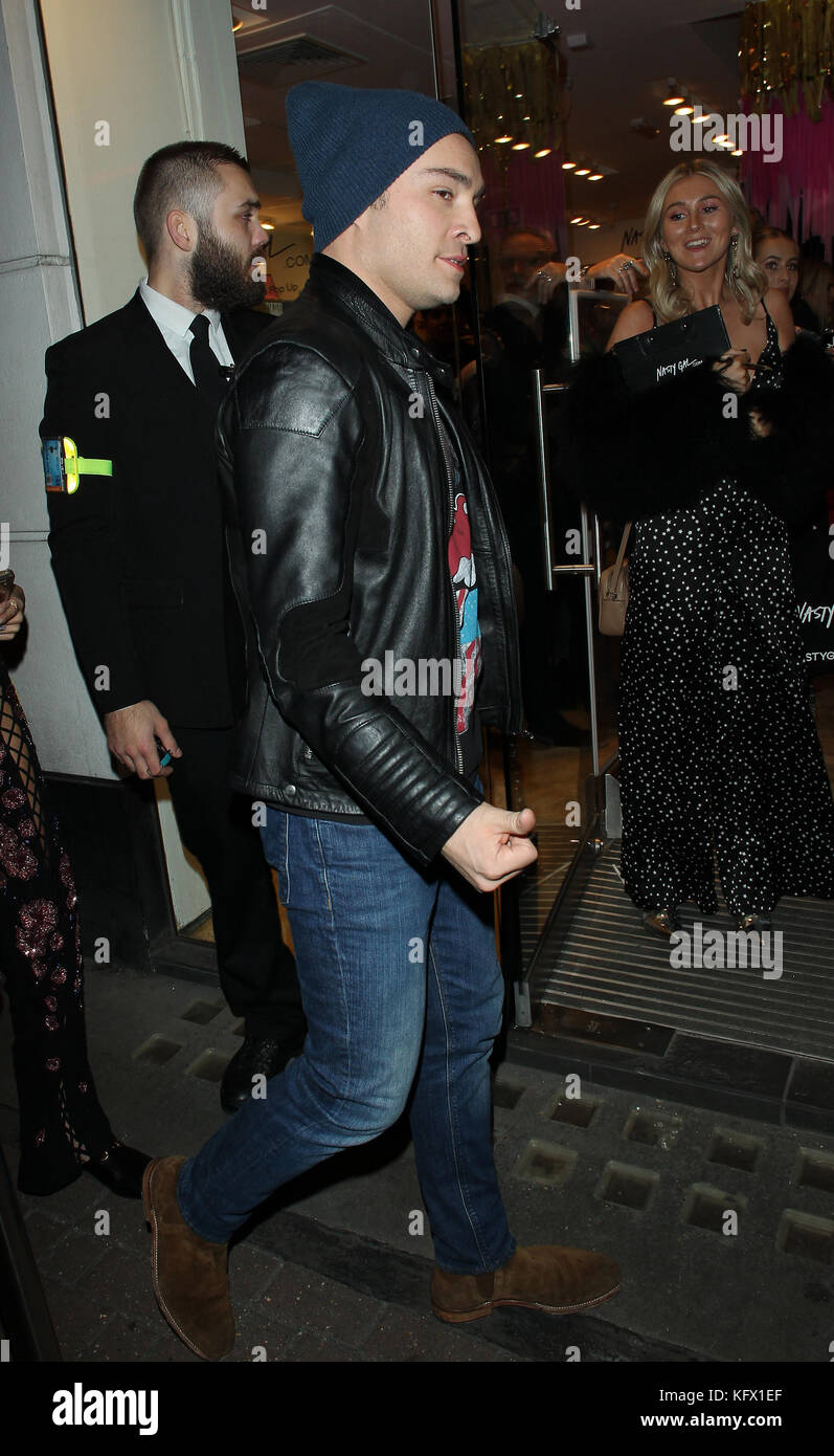 London, UK. 01st Nov, 2017. Ed Westwick attends Nasty Gal UK Pop Up Launch Party in Carnaby Street Credit: WFPA/Alamy - Stock Image