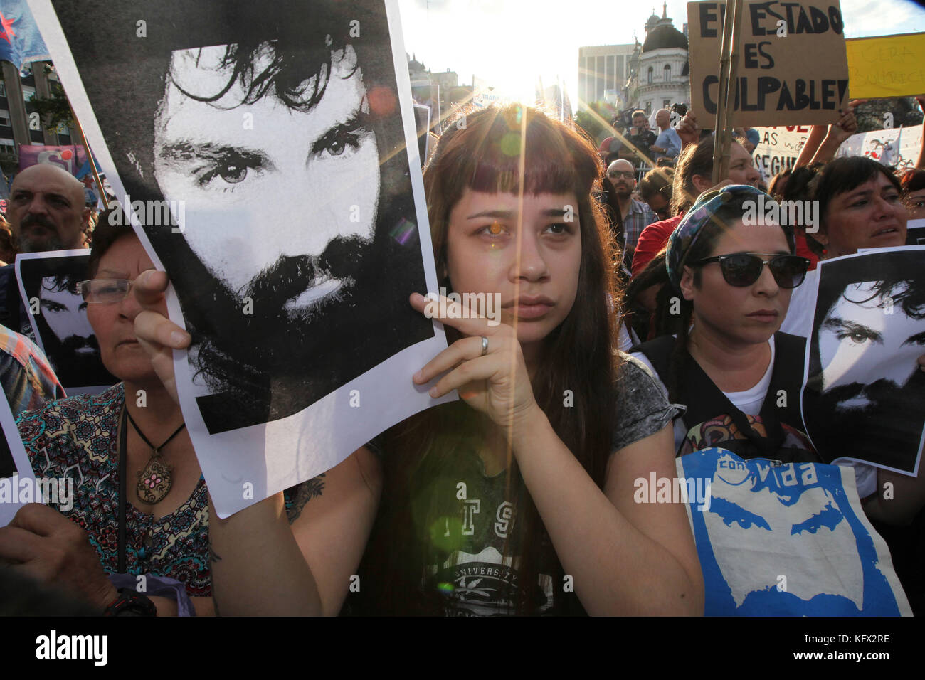 Buenos Aires, Buenos Aires, Argentina. 1st Nov, 2017. A demonstration was carried out to ask for justice for Santiago - Stock Image