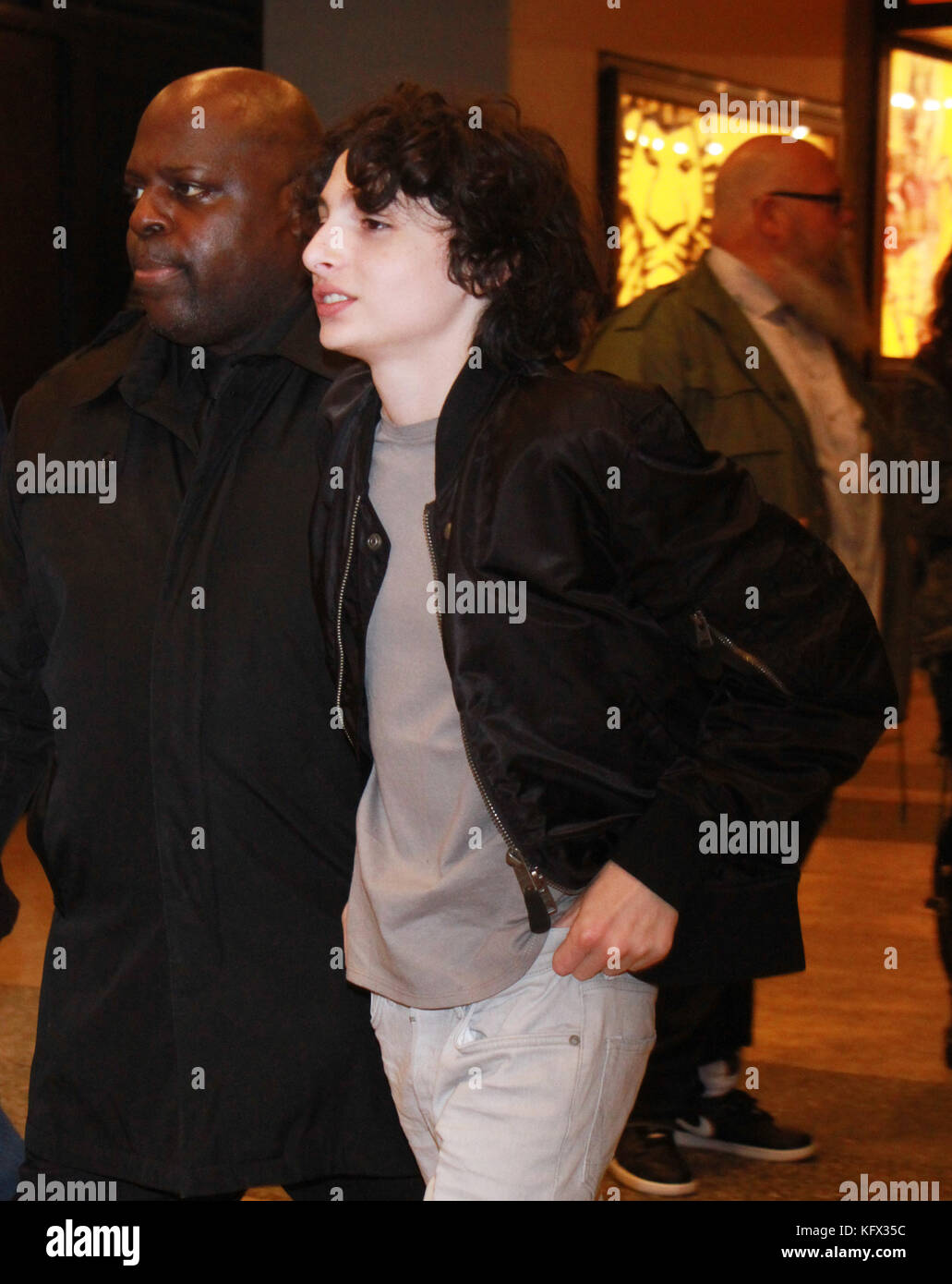New York, NY, USA. 01st Nov, 2017. Finn Wolfhard at MTV TRL to talk about the new season 2 of Stranger Things in - Stock Image