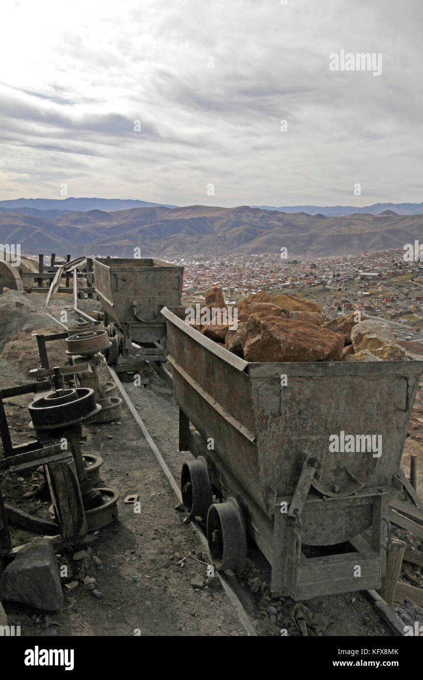 Mining cart filled with ore overlooking Potosi, Bolivia - Stock Image
