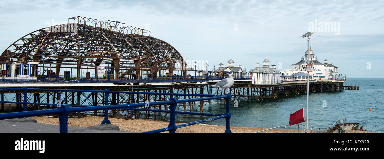 Eastbourne Pier - partly destroyed by fire on 30th July 2014. It caused a tide of charcoal to spread along the south - Stock Image
